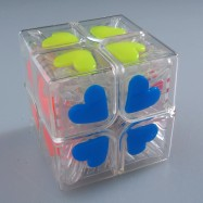 Funs 2x2 FangShi 2x2 Fangshi Shishuang 2x2 Magic Cube Puzzle Cube Transparent Heart Shape